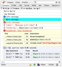 Отладка сайта с помощью JFirePHP